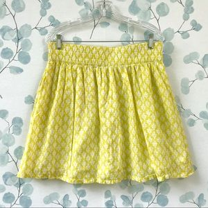 Old Navy Yellow & White Floral Print Womens Skirt